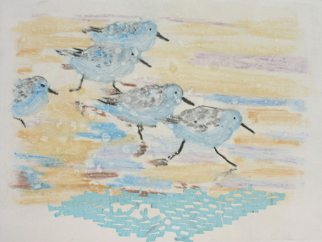 Five Sanderlings / Monotype / 9x12
