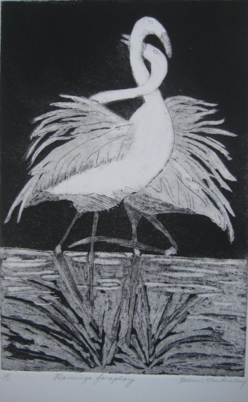 Flamingo Foreplay etching 6 x 9