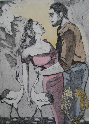 The Mating Dance - Copper Etching 9 x 12 edition of 20